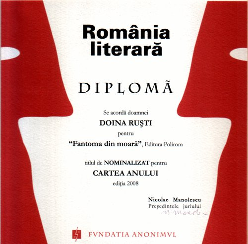 Book of the year, România Literară, 2008, Observator cultural, Premiile Radio (nomination)