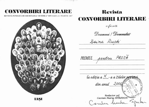 Convorbiri literare Journal Award, 2006