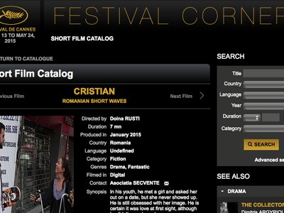 Cristian , short movie, Cannes, Corner. About the homonymous story