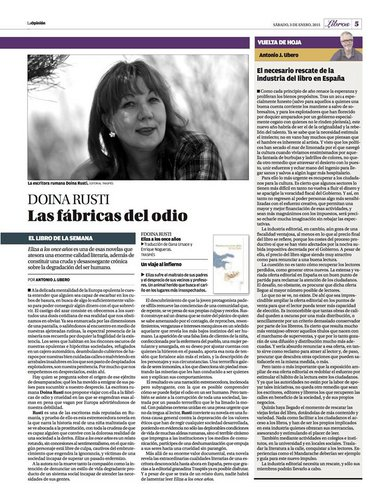 Review about Lizoanca (Eliza a los once annos) by Doina Ruști. La Opinion de Murcia, Spania - Doina Ruști